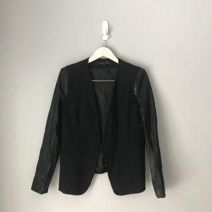 Theory Yaisa leather sleeve black blazer